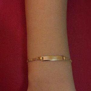 Real Gold 18K Bar Bracelet For Kids Unisex